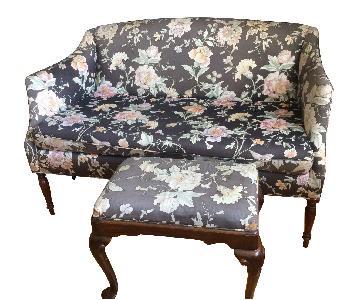 Classic Sofa Floral Fabric Loveseat & Ottoman