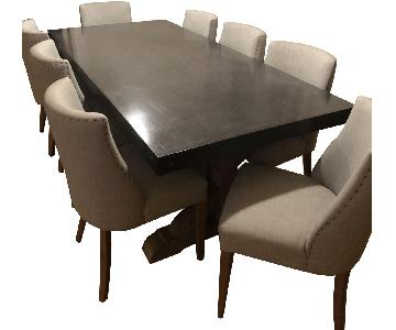 Restoration Hardware Wood & Concrete Table w/ 8 Chairs