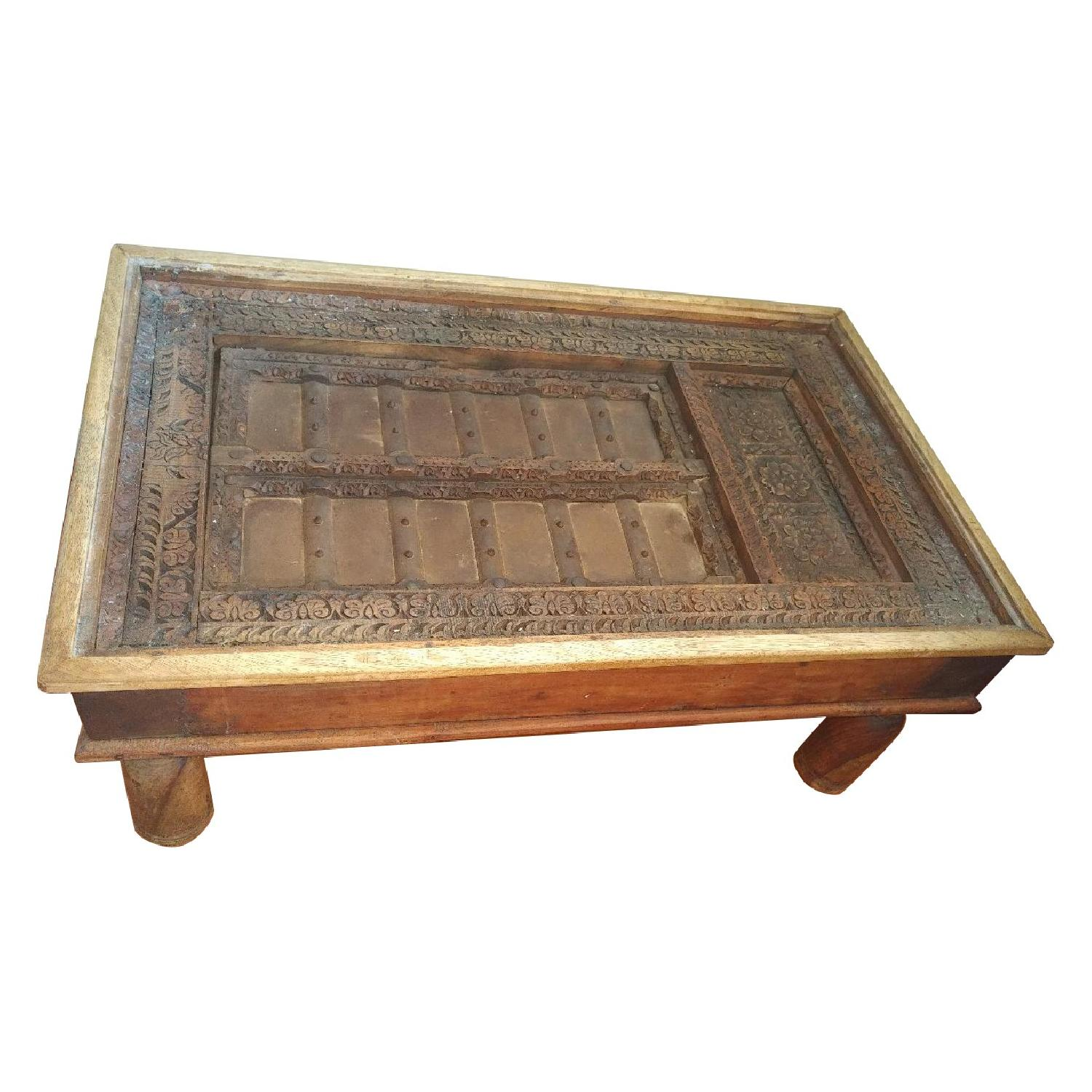 Antique Indian Door Top Coffee Table