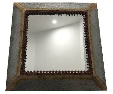 Distressed Square Metal Frame Mirror