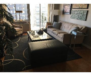 Beige Microsuede 3 Seater Sofa + Chair