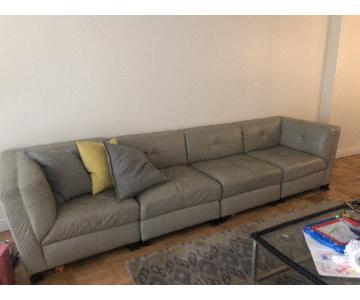 Macys Light Grey Leather Modular 4-Piece Sectional Sofa
