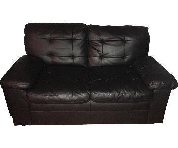 Black Leather Loveseat + Chair