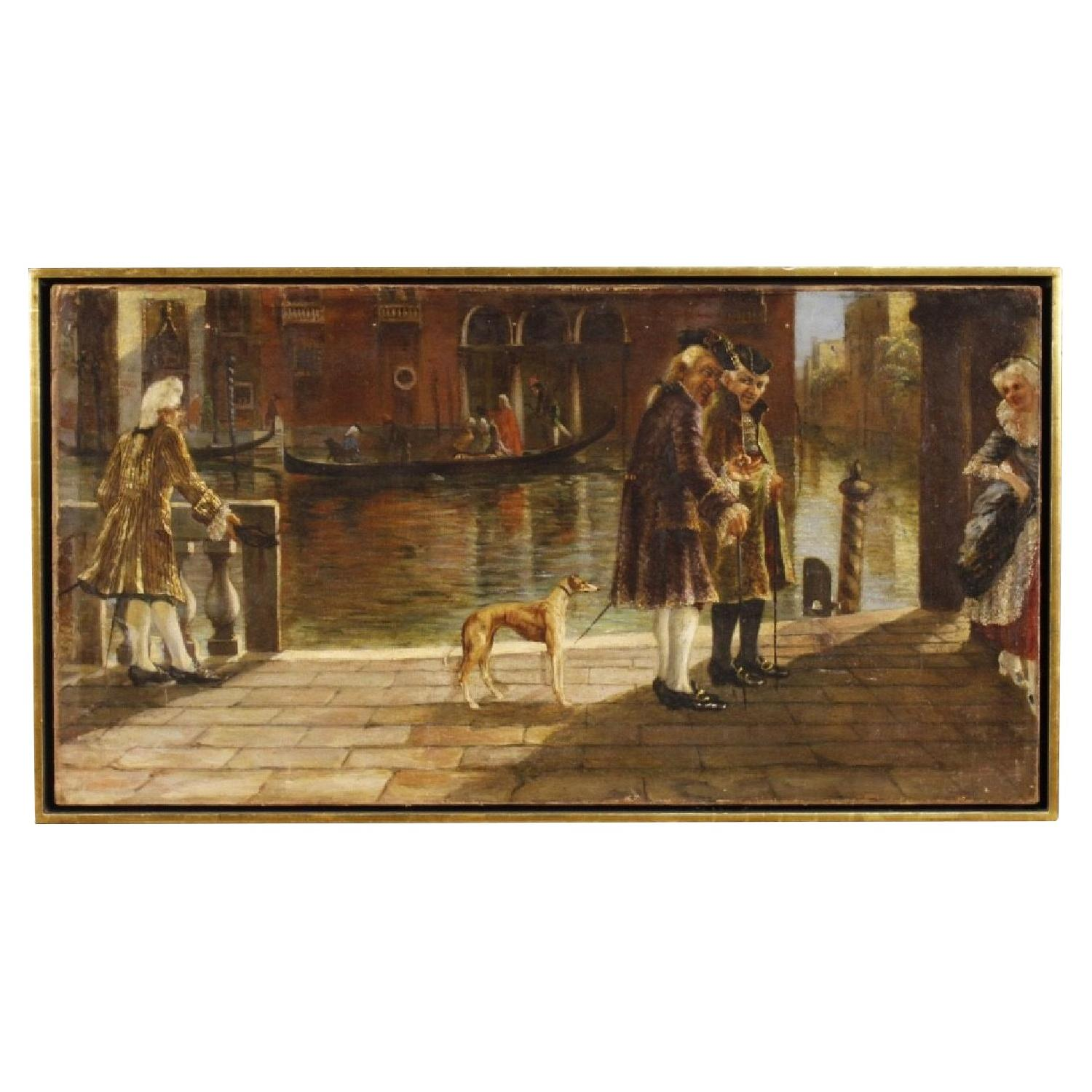 Venetian Canal View Italian Painting Oil on Canvas