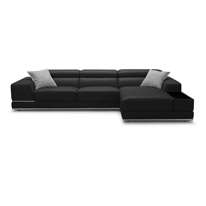 Modani Modern Black Leather Sectional Sofa Aptdeco