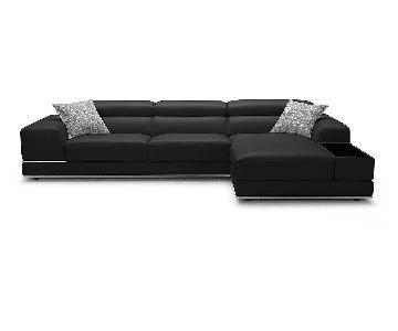 Modani Modern Black Leather Sectional Sofa