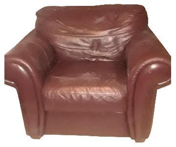 Raymour & Flanigan Burgundy Leather Armchair