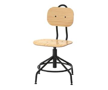Ikea Kullaberg Pine & Black Swivel Chair