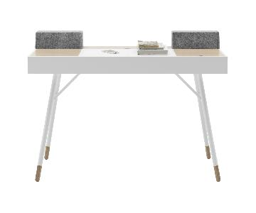 BoConcept Cupertino Desk in Matte White w/ Reversible Panels