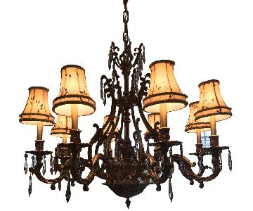 American Brass & Gold Crystal Chandelier