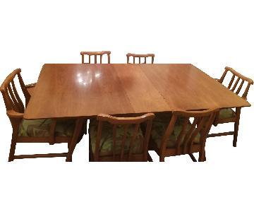 Mid-Century Danish Walnut Inlaid Dining Room Table