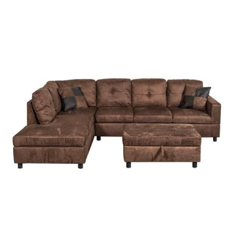 Charlton Home Left Facing Sectional Sofa U0026 Ottoman ...