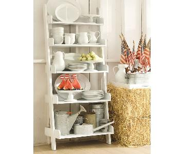 Pottery Barn White Wall Leaning Bookshelf