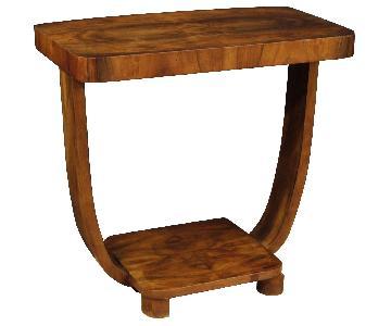 Art Deco Style Italian Side Table in Walnut Wood