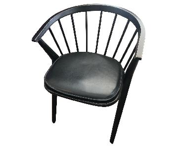 Room & Board Soren Black Arm Chair w/ Leather Pad