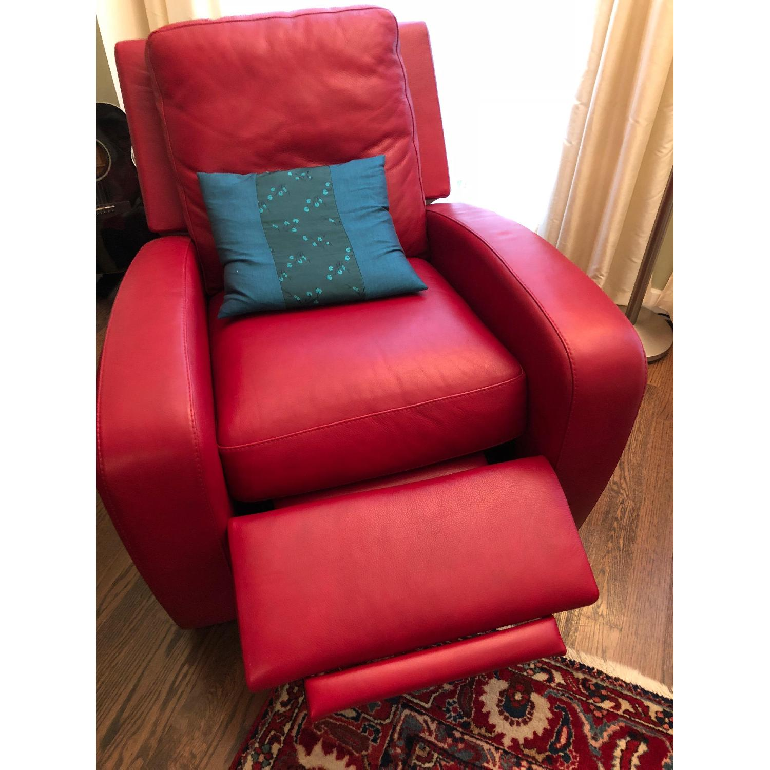 Crate & Barrel Leather Recliner in Red-0