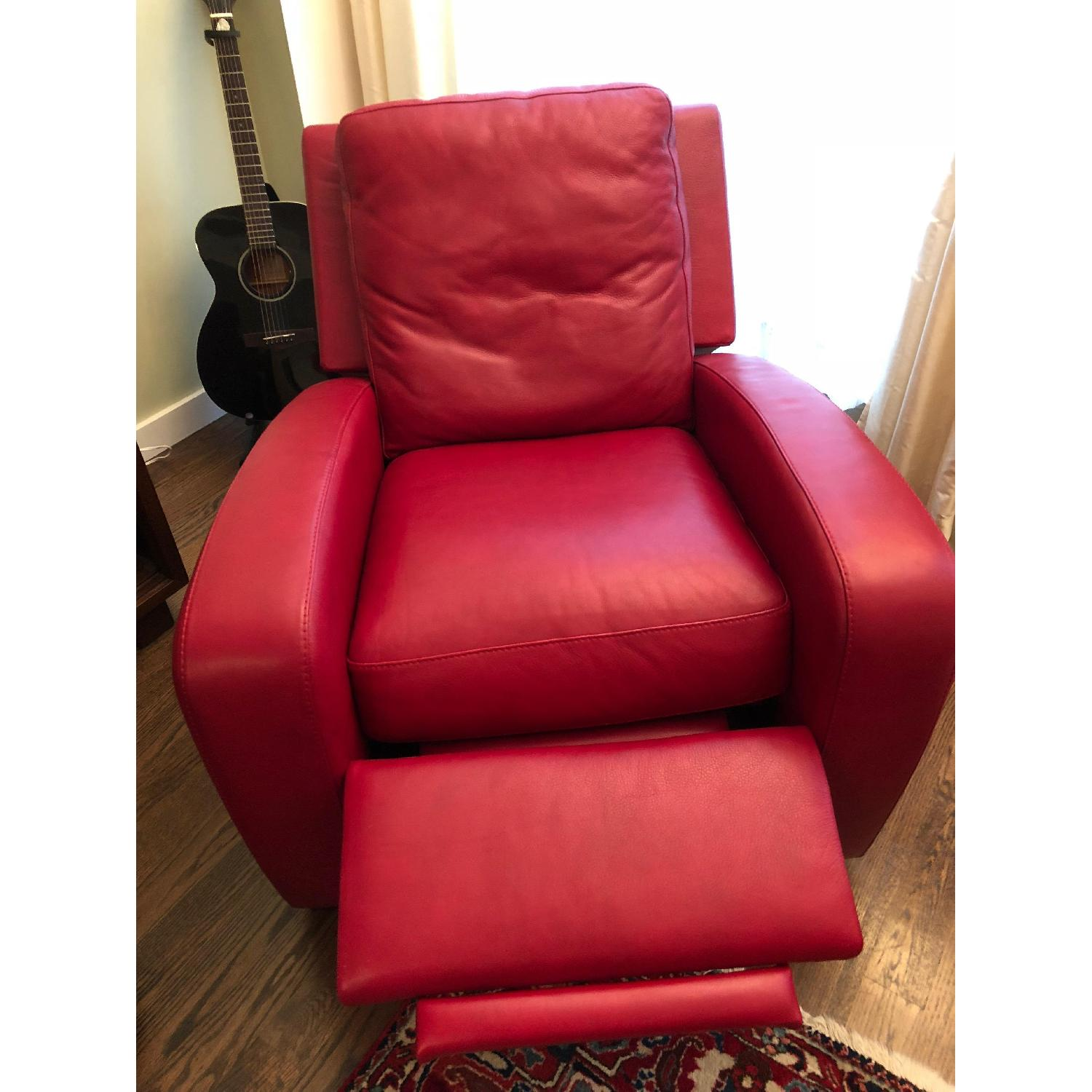 Crate & Barrel Leather Recliner in Red-1