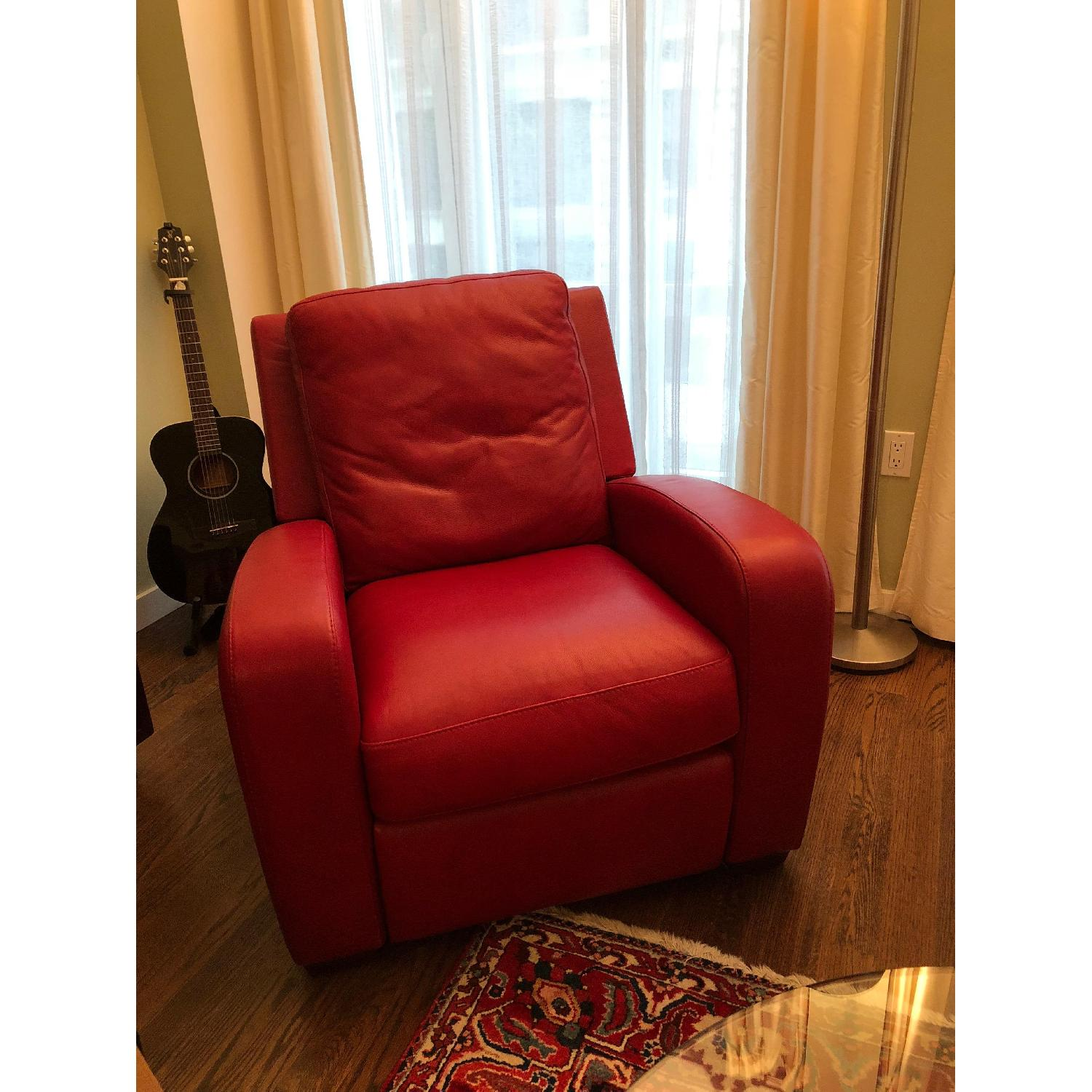Crate & Barrel Leather Recliner in Red-2