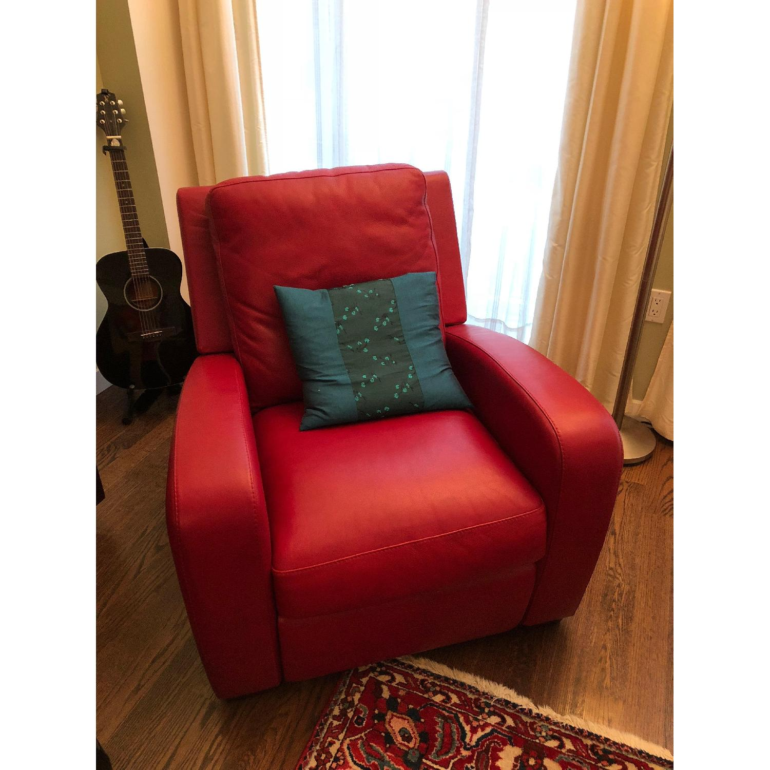 Crate & Barrel Leather Recliner in Red-4