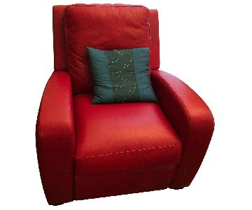 Crate & Barrel Leather Recliner in Red