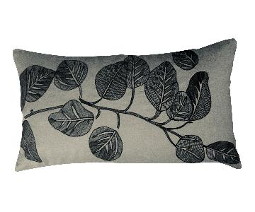 Botanical Leaf Branch Embroidered Pillow
