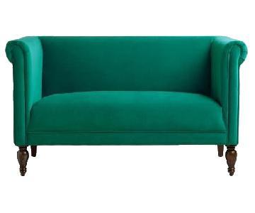 World Market Emerald Green Velvet Loveseat