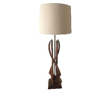 Vintage Mid-Century Table Lamp in Walnut