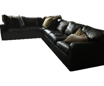 Ethan Allen Black Leather 3-Piece Sectional Sofa