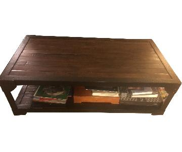 Pottery Barn Mission Style Coffee Table + End Table