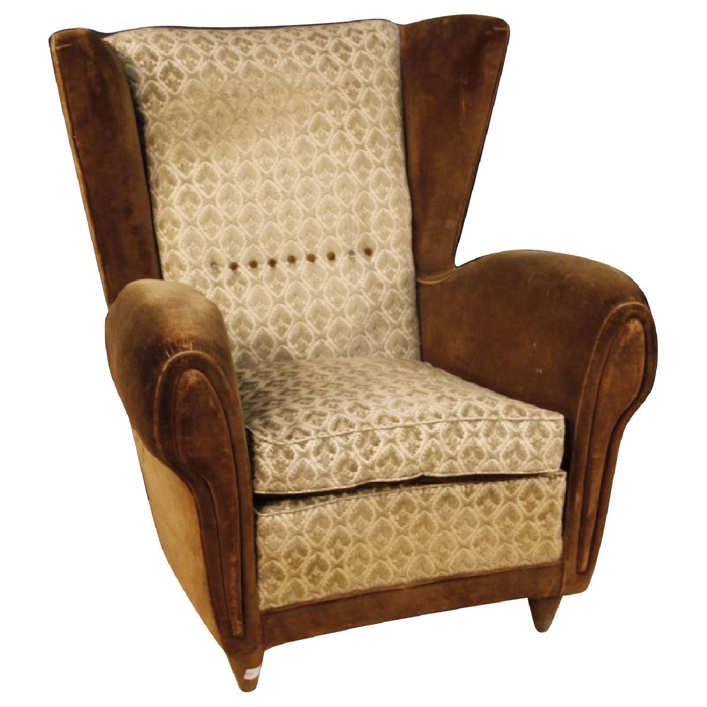20th Century Velvet Fabric Italian Gio Ponti Style Armchair