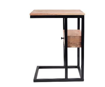 Ebern Designs Natural Wood Finish C Tables w/ Storage