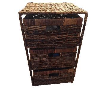 Brown Wicker 3 Drawer Side Table