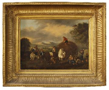 19th Century Oil on Canvas Dutch Painting Rural Scene