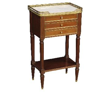20th Century Mahogany Wood Marble Top French Bedside Tables
