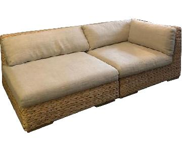 Restoration Hardware Left Arm Two Seat Sectional Sofa