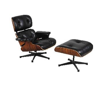 Eames Lounge Chair Reproduction in Black Aniline Leather