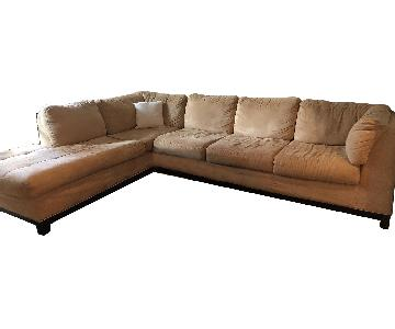 Raymour & Flanigan Beige Microsuede Sectional Sofa w/ Chaise
