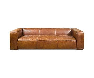 Aurelle Home Rustic Vintage Bridle Grain Leather Sofa