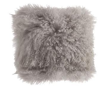 Zipcode Design Mongolian Fur Throw Pillows in Fog