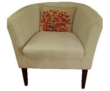 Home Life Armen Linon Ivory Beige Club Chairs