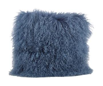 Zipcode Design Mongolian Fur Throw Pillows in Blue/Gray