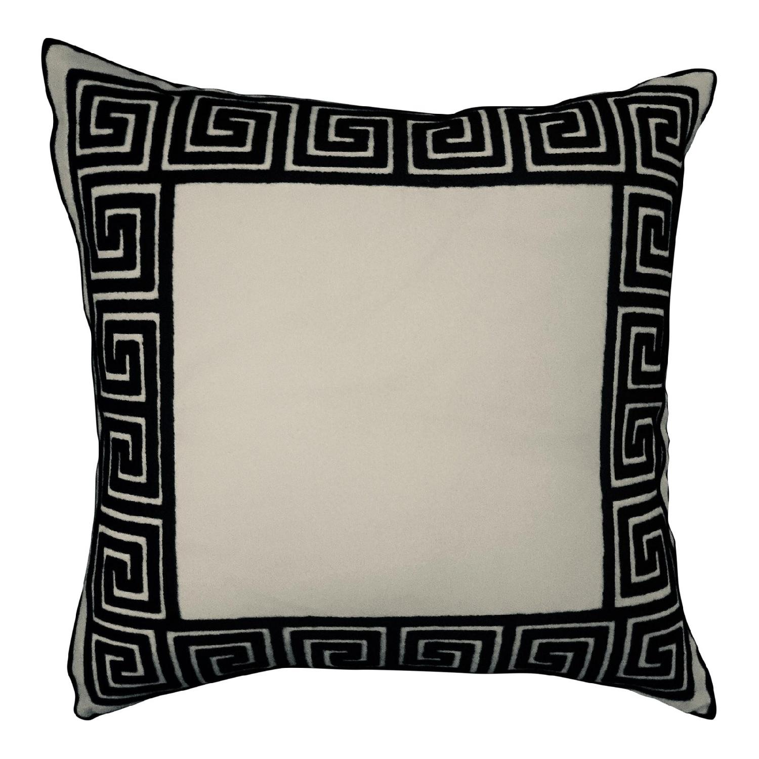 Greek Key Embroidered Pillow