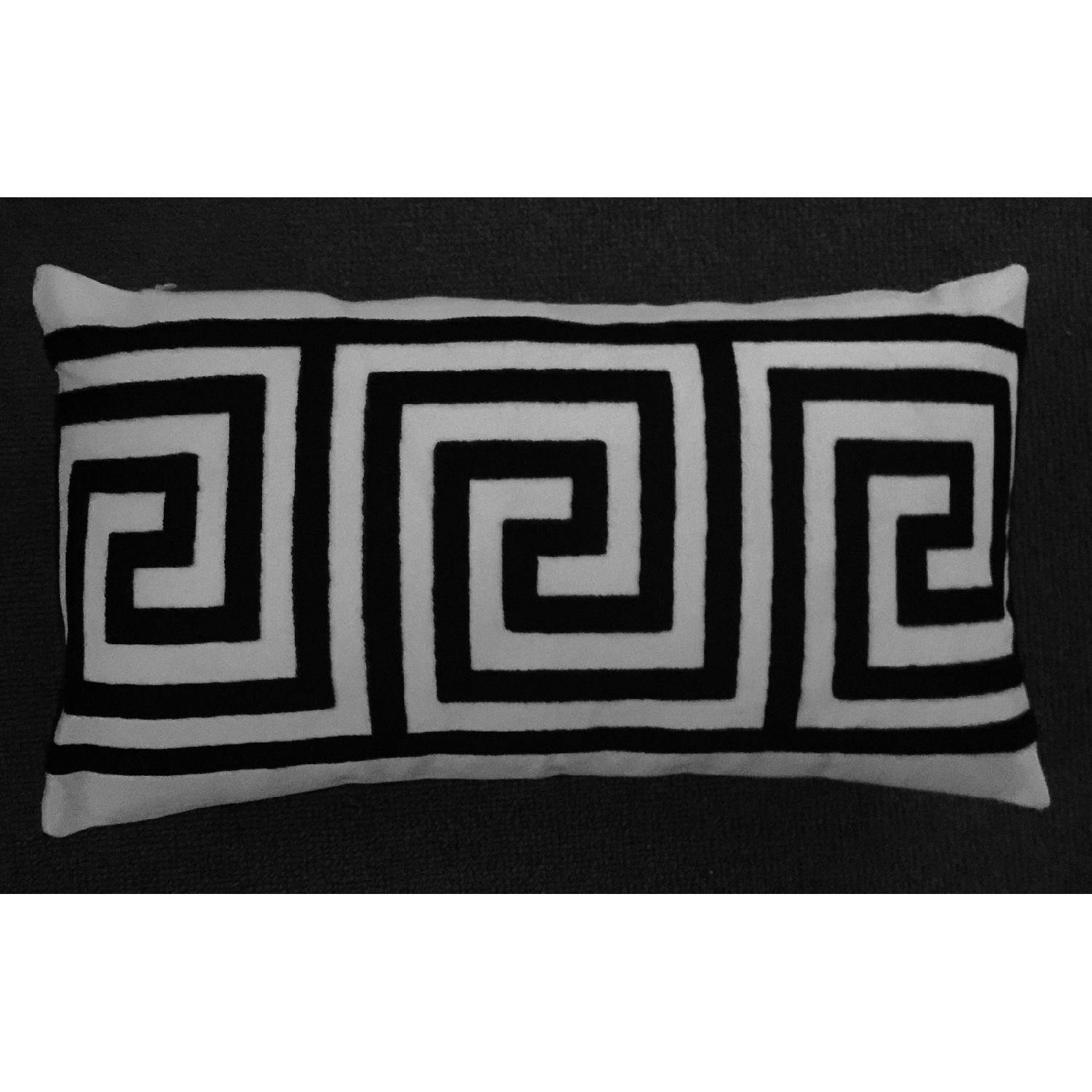 Greek Key Contemporary Embroiderd Pillow-2