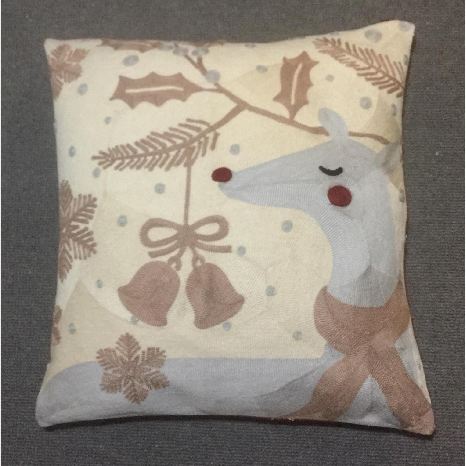 Holiday Reindeer Embroidered Pillow