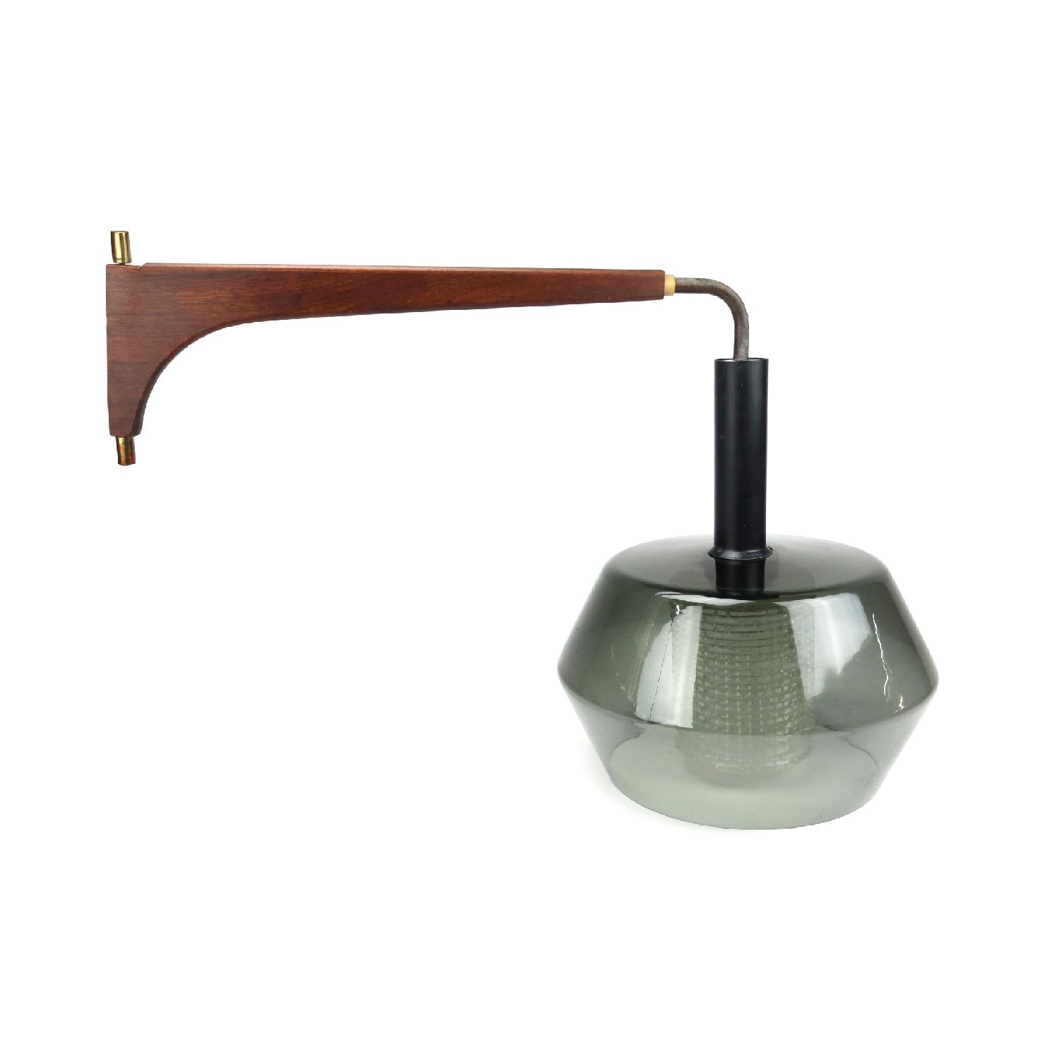 1960s Danish Adjustable Teak & Smoked Glass Pendant Lamp-0