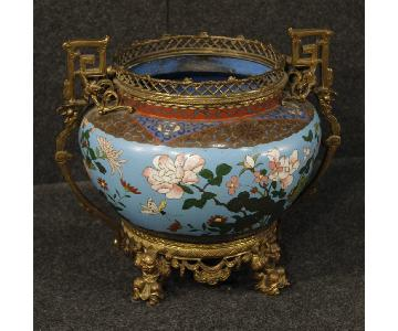 19th Century 1870 Blue Gilt Bronze French Cloisonn Vase