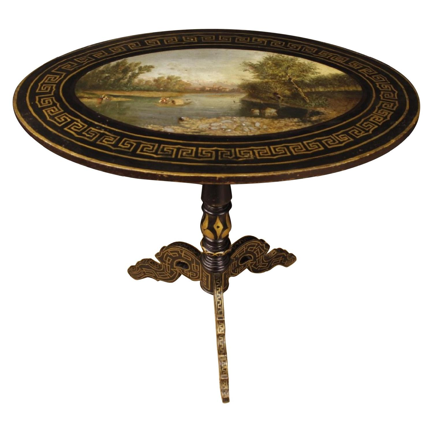 Lacquered & Painted Wood English Side Table