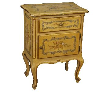Lacquered Painted & Gilded Venetian Nightstand