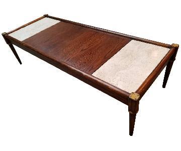 Vintage Mid Century Wood & Marble Coffee Table