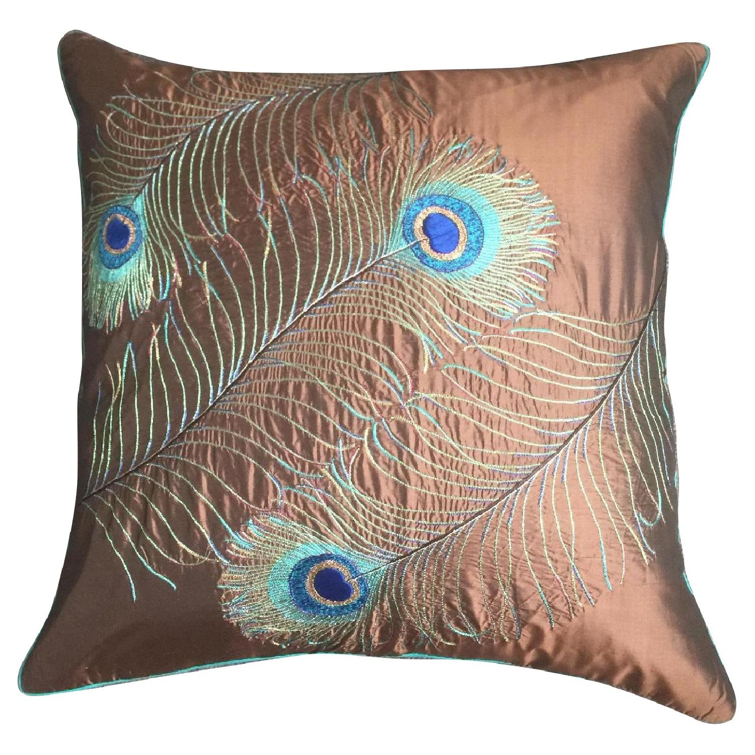 Peacock Feather Embroidered Pillow - image-0